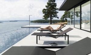 chaise longue-transat Meubles de jardin en fibre tressée grid