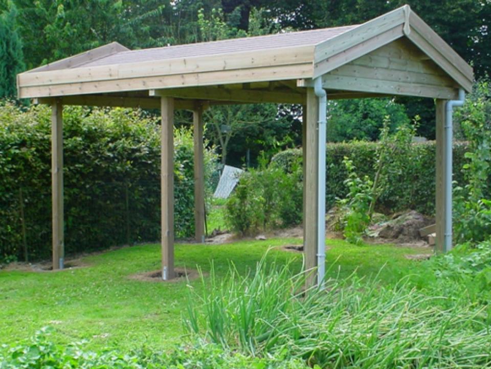 carport en bois adoss ou non chez mega abris. Black Bedroom Furniture Sets. Home Design Ideas