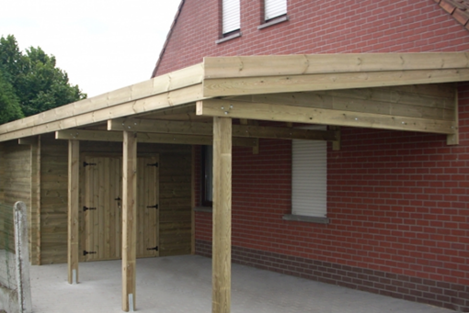 Plan de carport en bois maison design for Garage en bois en belgique